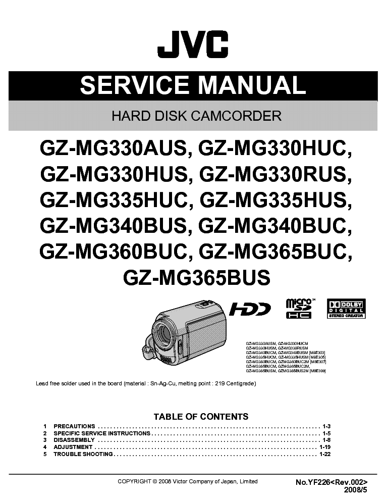jvc gz mg330 mg335 mg340 mg360 mg365 aus buc bus huc hus yf226 sm rh elektrotanya com jvc gz-mg330ru manual jvc everio gz-mg330 manual