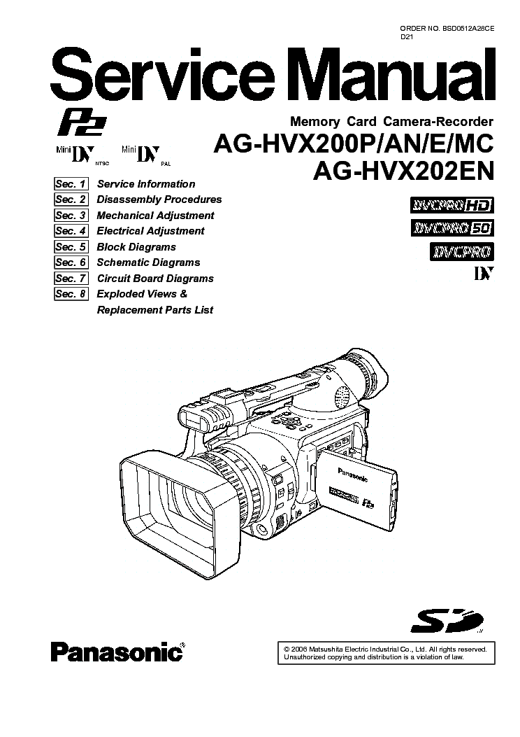 panasonic ag hvx200 service manual download schematics eeprom