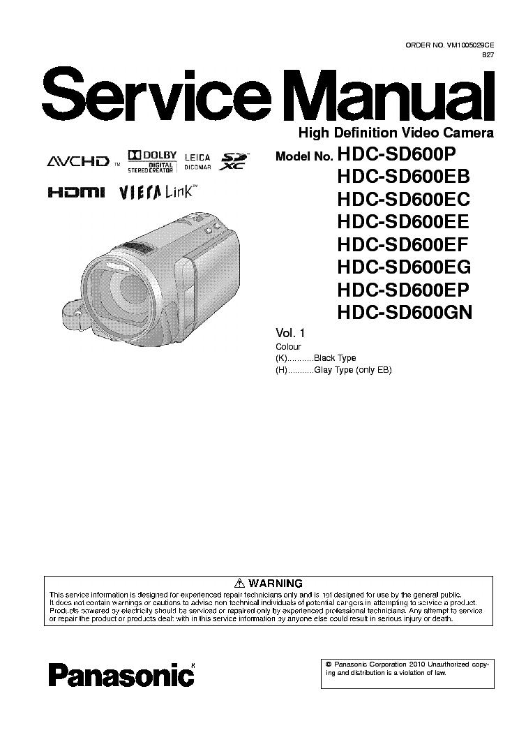 Panasonic hdc-sd60 tm55 tm60 service manual & repair guide downlo.
