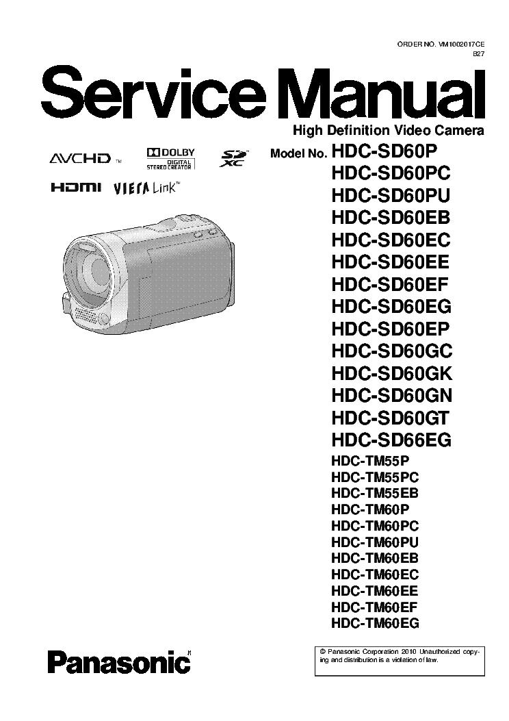 panasonic hdc sd60 hdc sd66 hdc tm55 hdc tm60 service manual rh elektrotanya com Panasonic Technical Support Manual Panasonic Radio