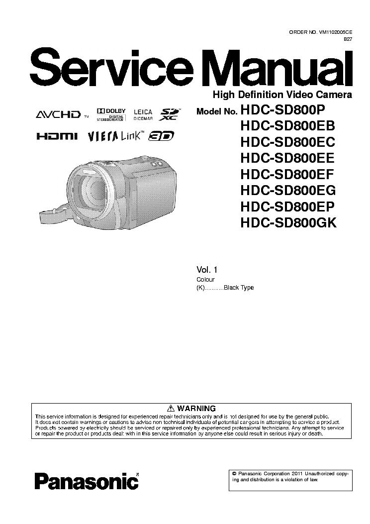 Panasonic hdc-sd900 + tm900 service manual & repair guide downloa.