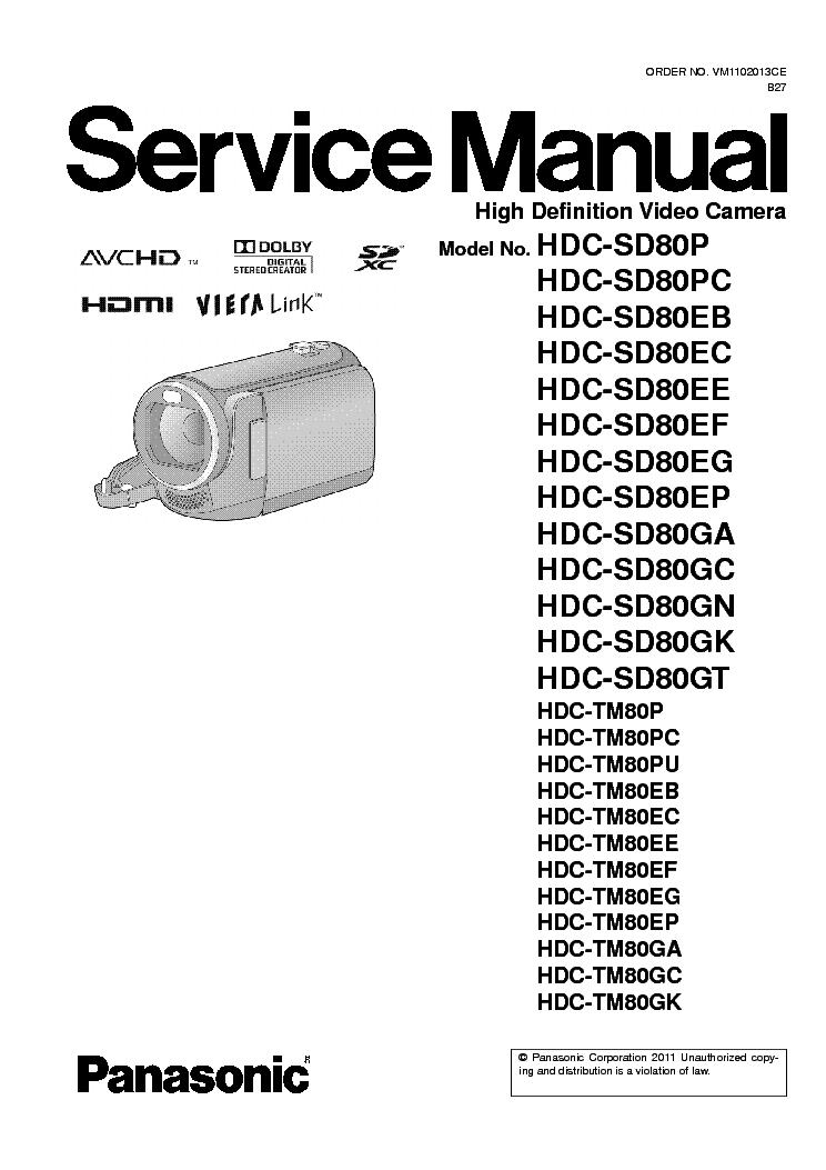 panasonic hdc sd80 tm80 sm service manual download schematics rh elektrotanya com Panasonic Owner's Manual Panasonic TV Manual