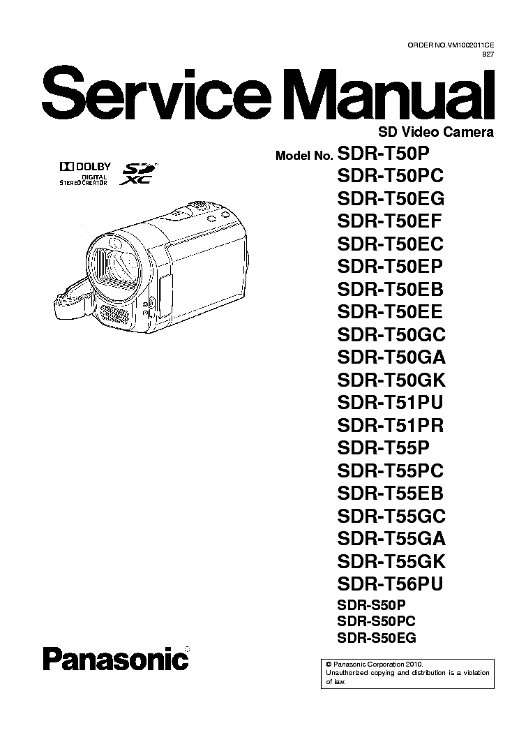 PANASONIC SDR-S50 T50 T51 T55 T56 service manual