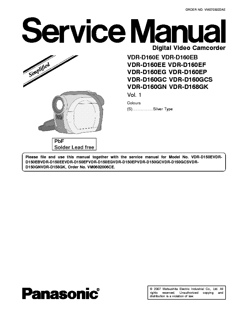 Инструкция panasonic vdr d160