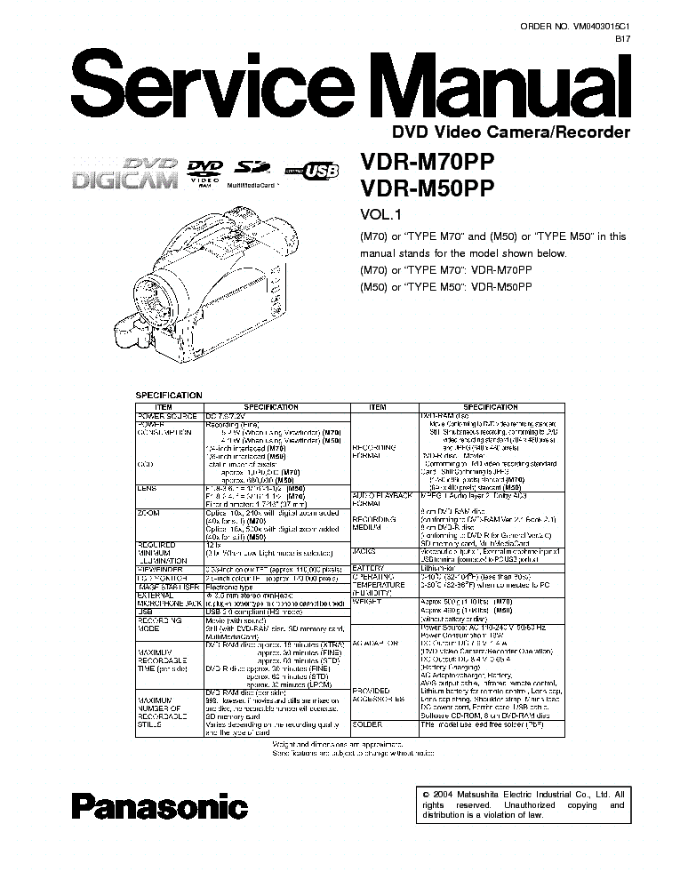 PANASONIC VDR-M70 WINDOWS 7 64 DRIVER