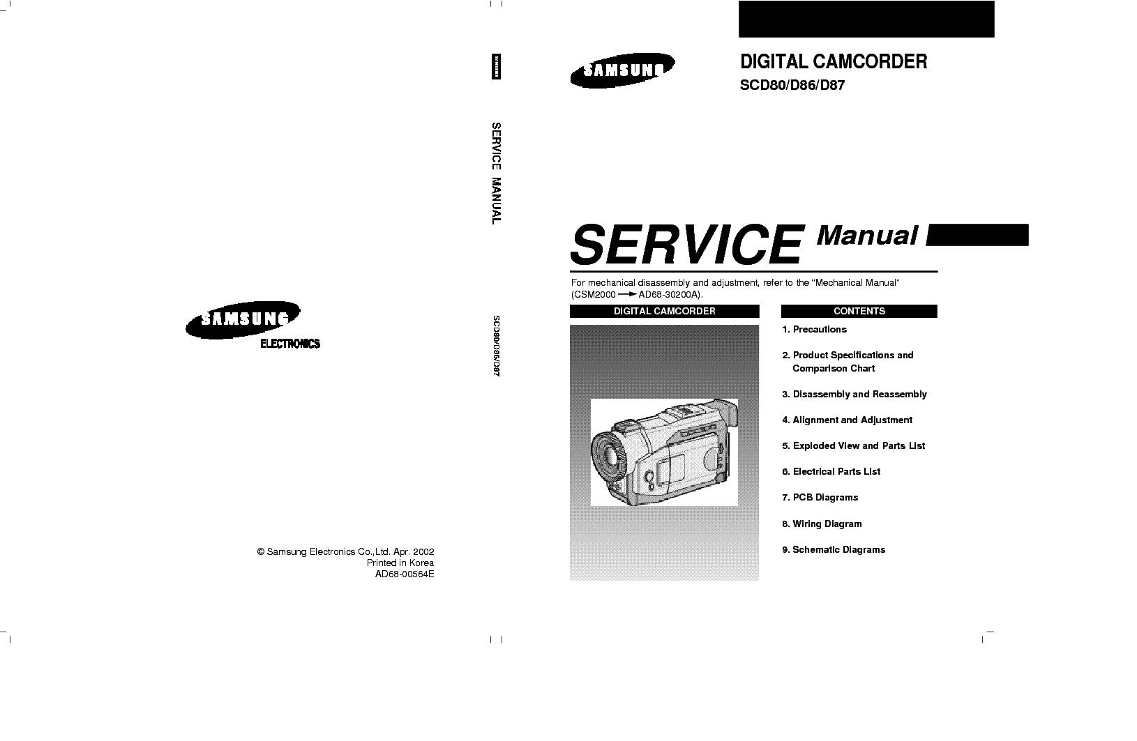 samsung scl300 vpl300 series camcorder repair manual