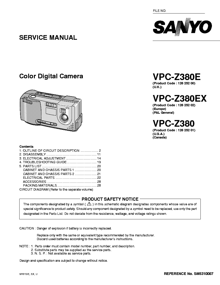 sanyo vpc z380 sm5310087 00 11 digital camera service manual rh elektrotanya com Sanyo VPC 51415 Manual Sanyo Online Manuals
