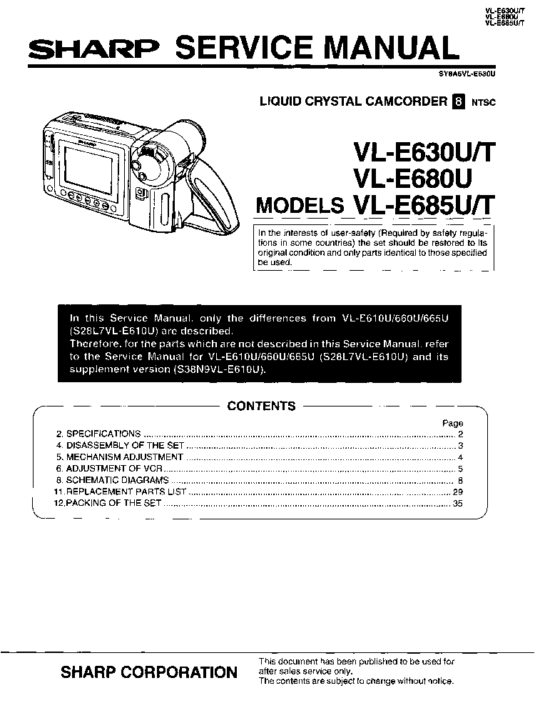 SHARP VL-E630 VL-E680 VL-E685 service manual