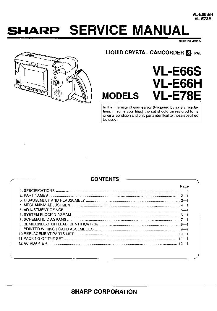 Vl-ad260u sharp camcorder service/repair manual for vl-ad260u | ebay.