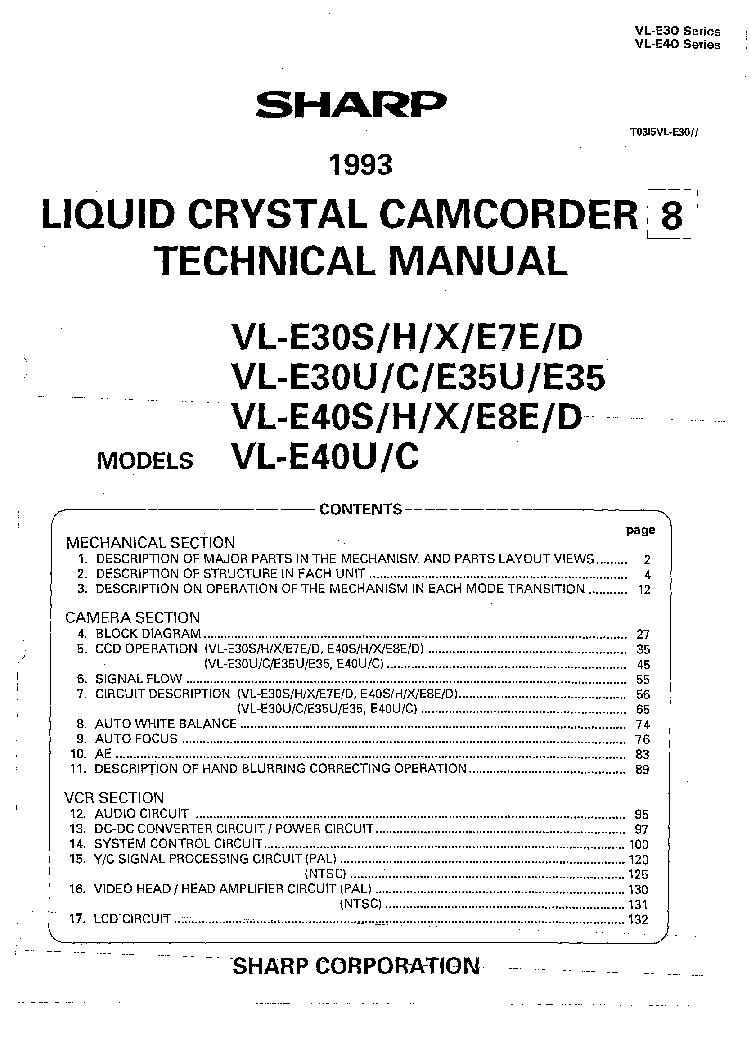 Sharp camcorder vl-l340u original factory service manual | ebay.