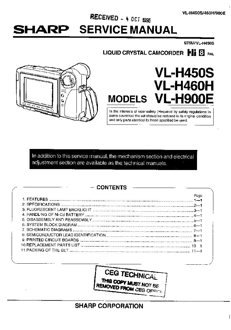 Sharp vl-e630 vl-e680 vl-e685 service manual download, schematics.