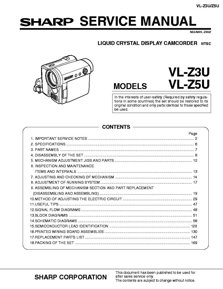 Sharp vl-z3,vl-z5 service manual download, schematics, eeprom.