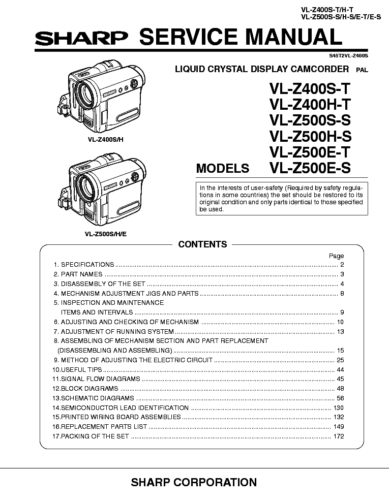 Sharp vl-z400 vl-z500 sm service manual download, schematics.