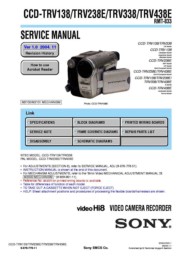 sony ccd trv138 trv238e trv338 trv438e service manual download rh elektrotanya com sony handycam ccd-trv138 software download sony handycam ccd trv68 manual