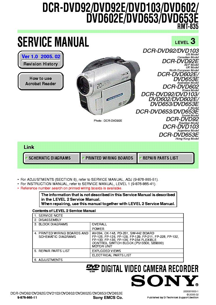 Sony hdr hc5e service manual сеть сервисных центров по ремонту телефонов