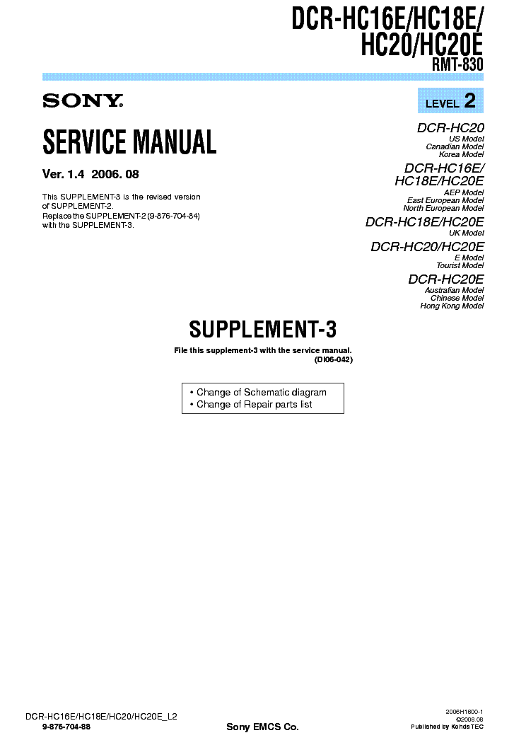 Sony Handycam DCR-HC21E Service Manual Download