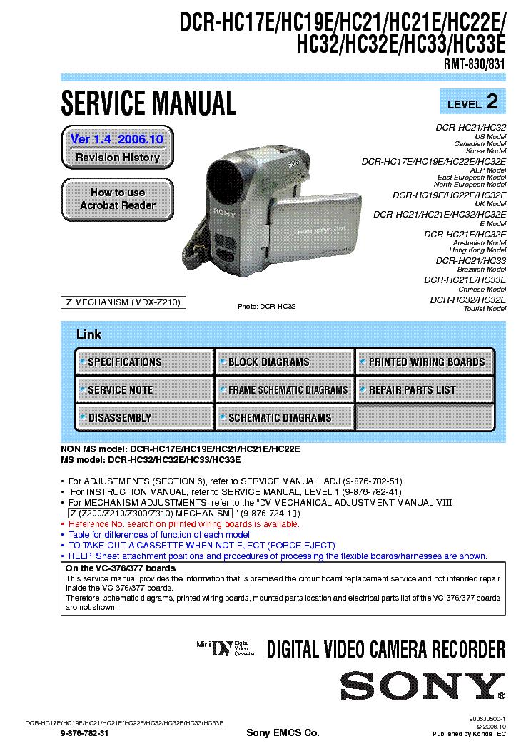 sony dcr hc17 hc19 hc21 hc22 hc32 hc33 level2 ver1 4 service manual rh elektrotanya com sony dcr hc42 manual sony dcr hc42 manual