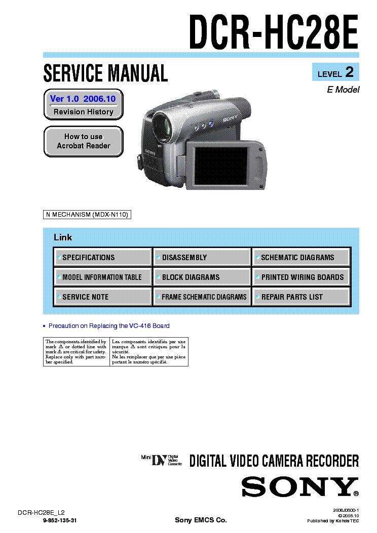 sony dcr hc28 level2 ver1 0 service manual download schematics rh elektrotanya com sony handycam dcr-hc28 manual Sony Handycam DCR 2004
