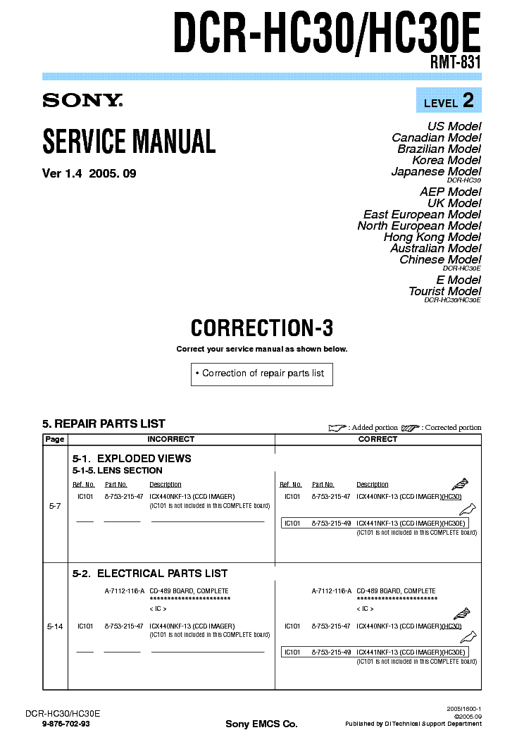 SONY DCR-HC30 CORR LEVEL2 VER1.4 service manual (1st page)