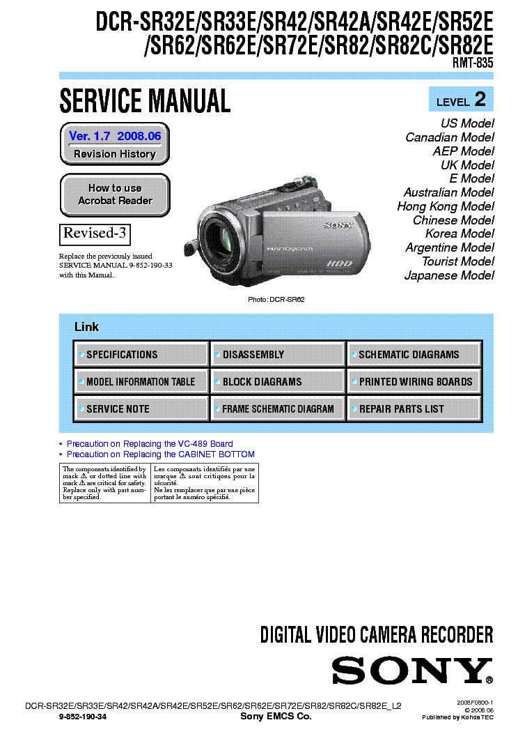 sony dcr sr32 sr33 sr42 sr52 sr62 sr72 sr82 level2 ver1 7 service rh elektrotanya com sony handycam sr62 manual sony dcr-sr62 driver download