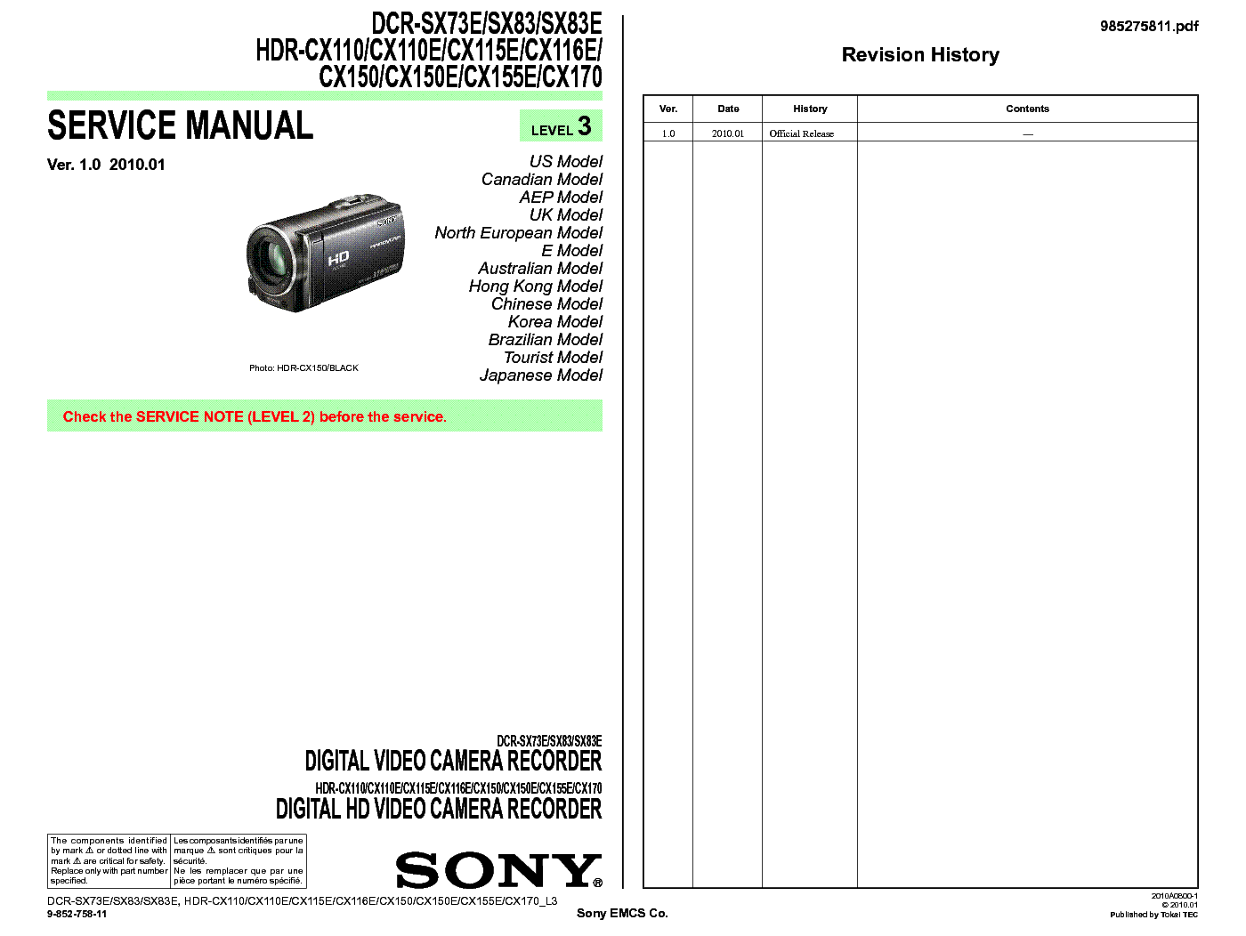 sony handycam hdr cx150 service manual Array - sony dcr sx73 sx83 hdr cx110  cx115 cx116 cx150 cx155 cx170 level3 rh elektrotanya