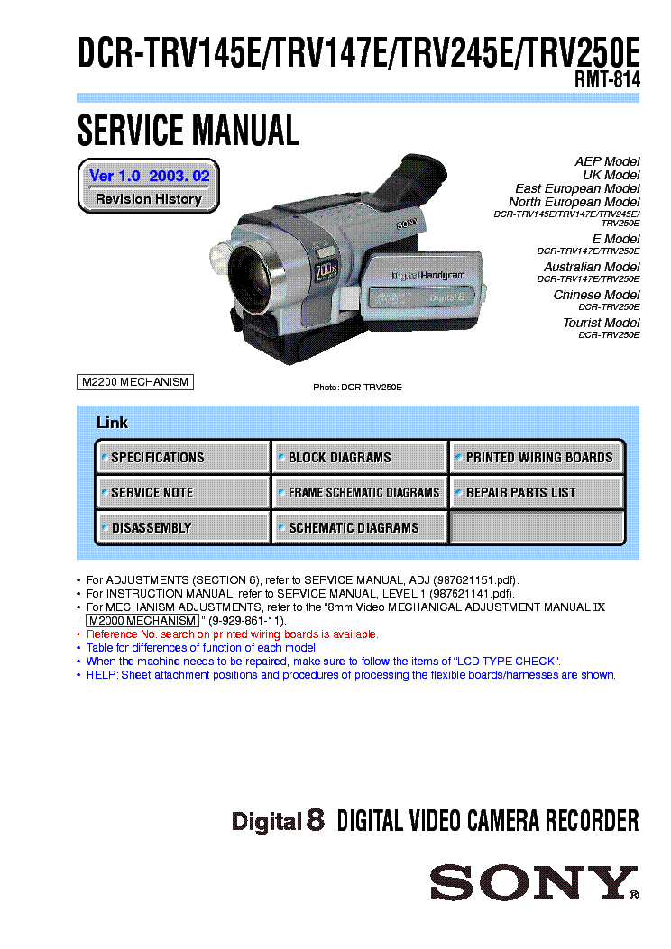 sony dcr trv38 dcr trv38e digital video camera recorder service manual