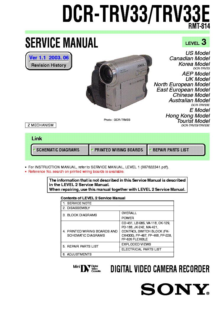 Sony handycam dcr-trv33e manual.