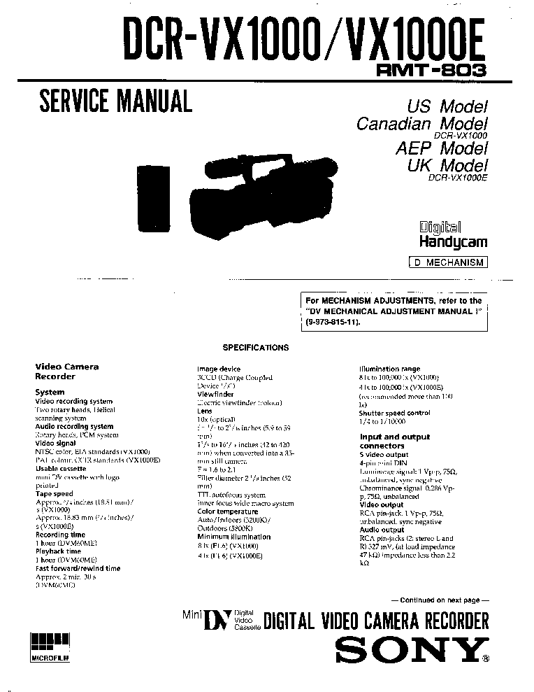 sony dcr vx1000 sm service manual download schematics eeprom rh elektrotanya com LG VX1000 Phone Sony DCR- VX1000
