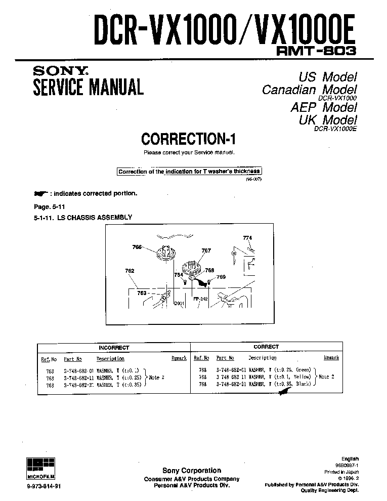sony dcr vx1000 sm corr1 service manual download schematics eeprom rh elektrotanya com LG VX1000 Phone yaesu vx 1000 service manual
