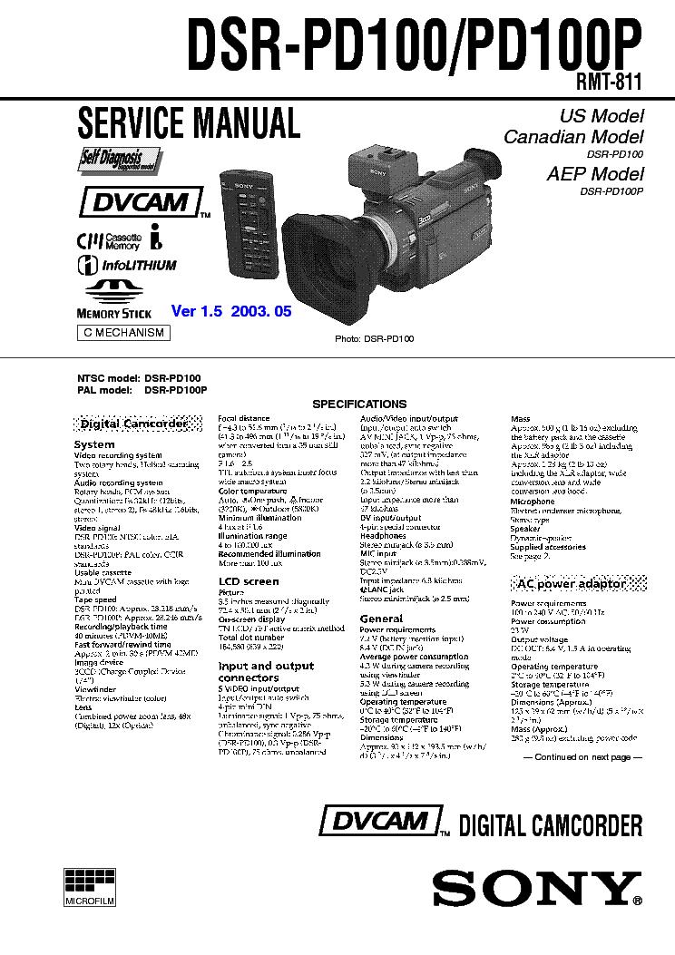 Sony dsr-pd150 manual