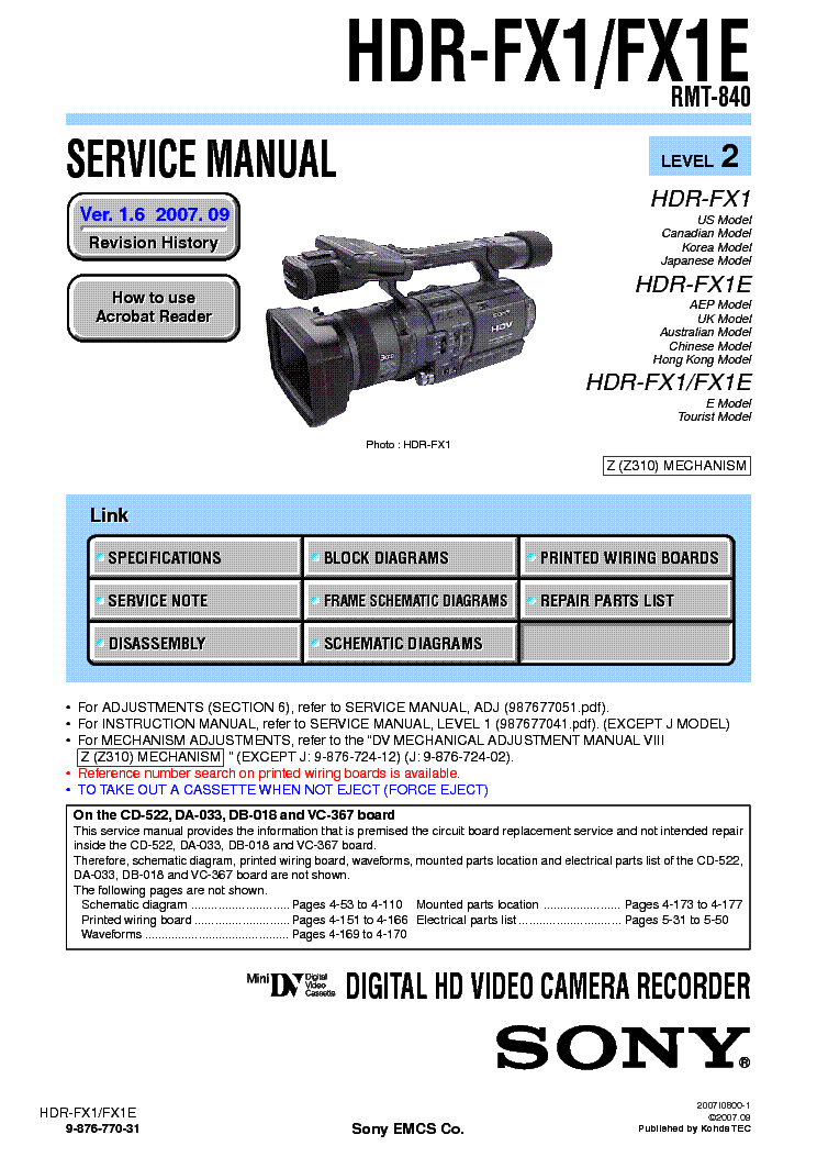 ... ! This picture is a preview of SONY HDR-FX1 FX1E LEVEL-2 VER-1.6 SM