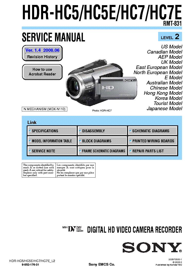 sony hdr hc5 hdr hc5e hdr hc7 hdr hc7e level 2 ver 1 4 service rh elektrotanya com Sony HDR XR160 Sony HDR XR160