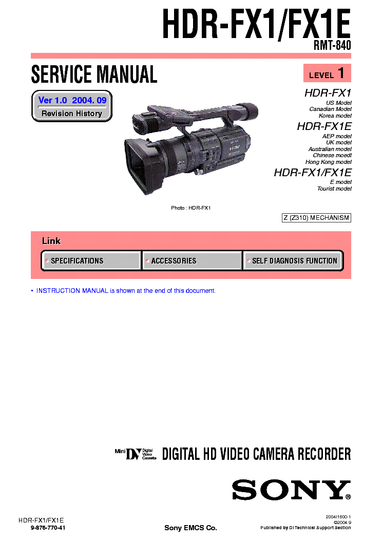 sony hdr fx1 level 1 2 service manual download  schematics