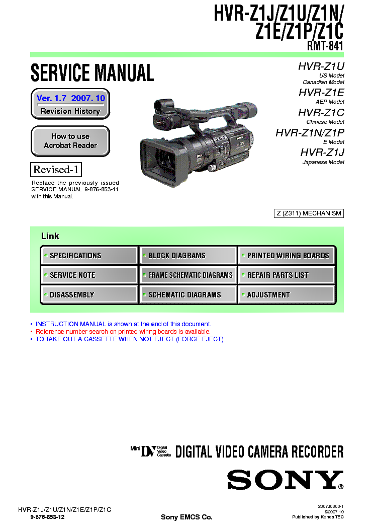 sony hvr z1 ver1 7 service manual download schematics eeprom rh elektrotanya com sony hvr z1u manual pdf sony hvr z1e manual pdf