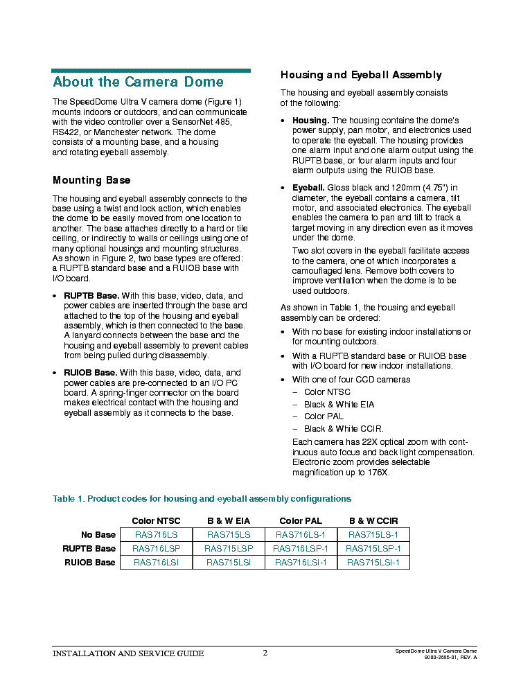 SENSORMATIC AMERICANDYNAMICS SPEEDDOME ULTRA V 5 Service