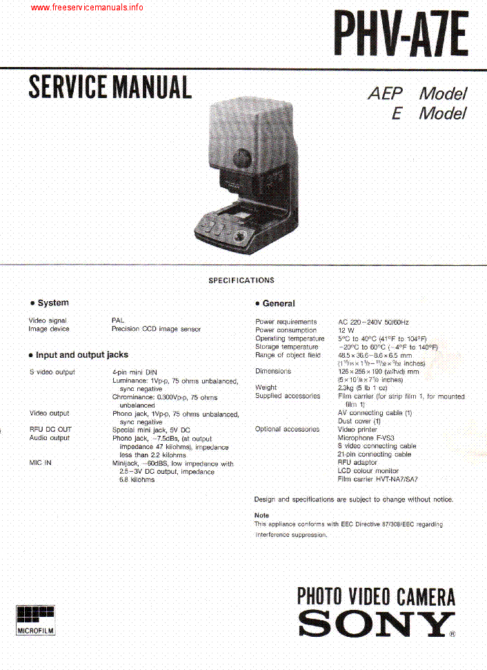 sony phv a7e photo video camera service manual download schematics rh elektrotanya com Konica Minolta Digital Camera Manual Wildview Game Camera Manual