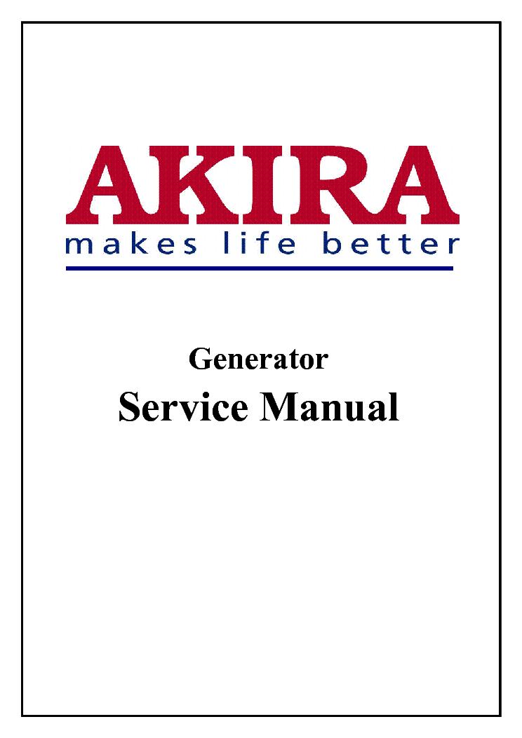 Akira Em1150dc Generator Service Manual Download