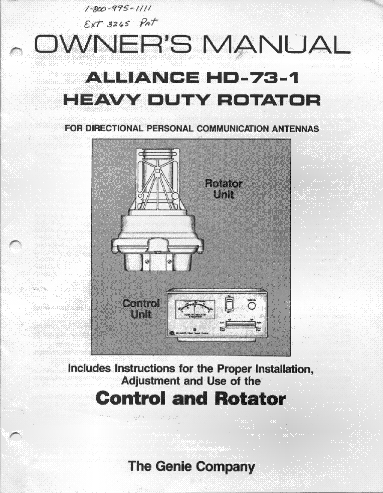 Alliance Antenna Rotor Sm Service Manual Free Download