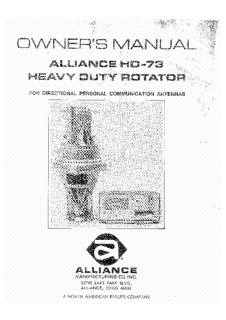 alliance u 100 antenna rotator sm service manual download. Black Bedroom Furniture Sets. Home Design Ideas