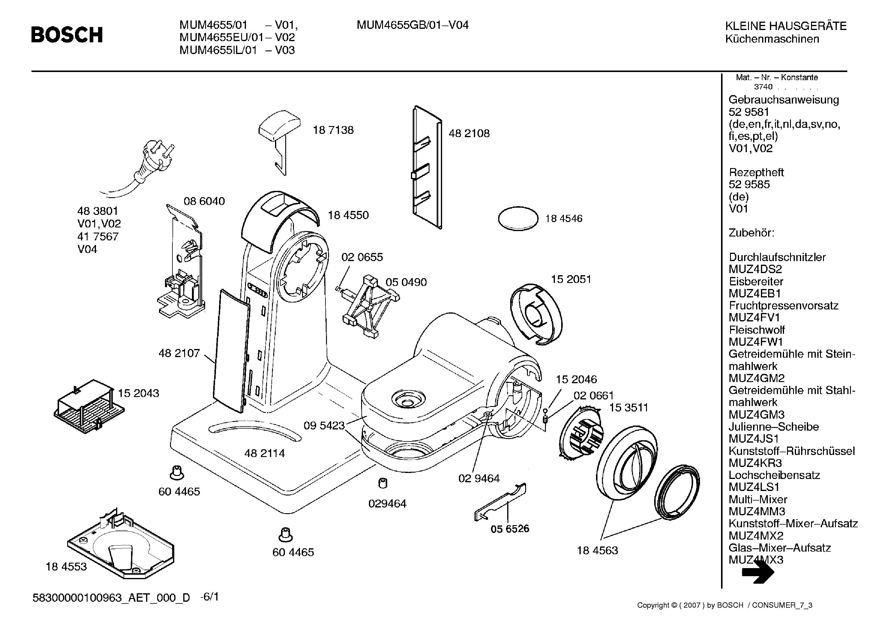 bosch mum4655 eu il 01 parts service manual download