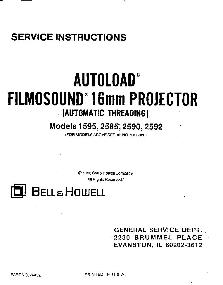 BELL HOWELL 456A 456Z 456X 456XF 456XP Service Manual