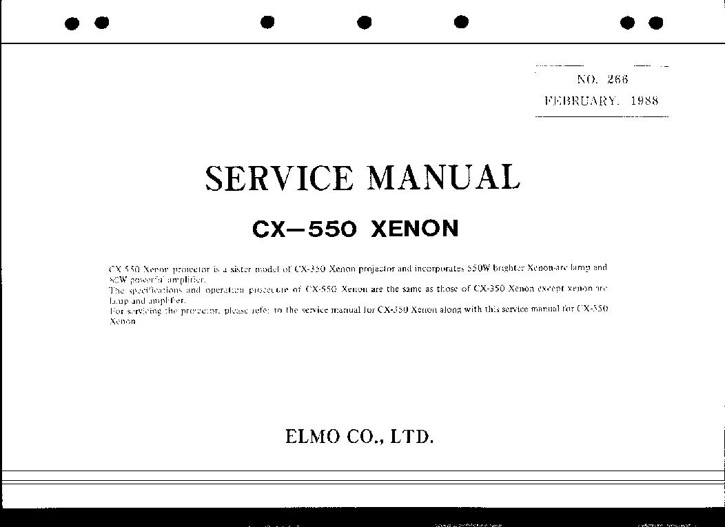 ELMO CX-550 XENON service manual (1st page)