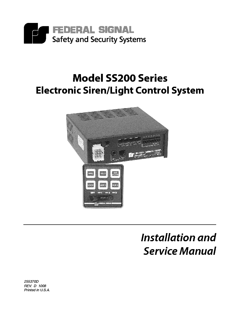 FEDERAL SIGNAL PA200 SERVICE MANUAL Service Manual download ...