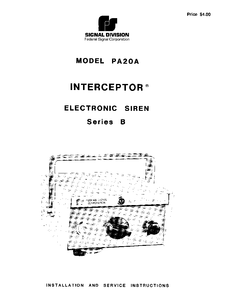 FEDERAL SIGNAL PA300 SCH Service Manual download, schematics ... on