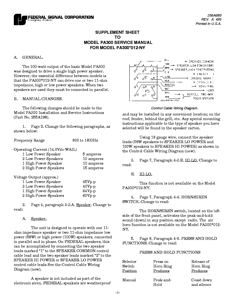 FEDERAL SIGNAL PA300 SCH Service Manual download, schematics, eeprom ...