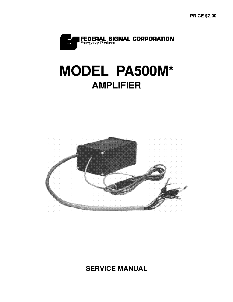 FEDERAL SIGNAL PA300 SCH Service Manual download, schematics ... on