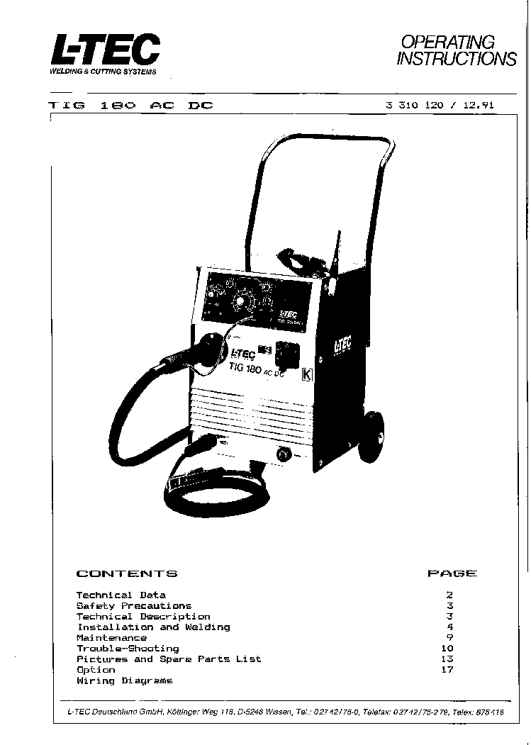 Ltec Tig 180 Acdc Service Manual Download Schematics Eeprom Dc Welder Wiring Diagram Free Schematic 1st Page