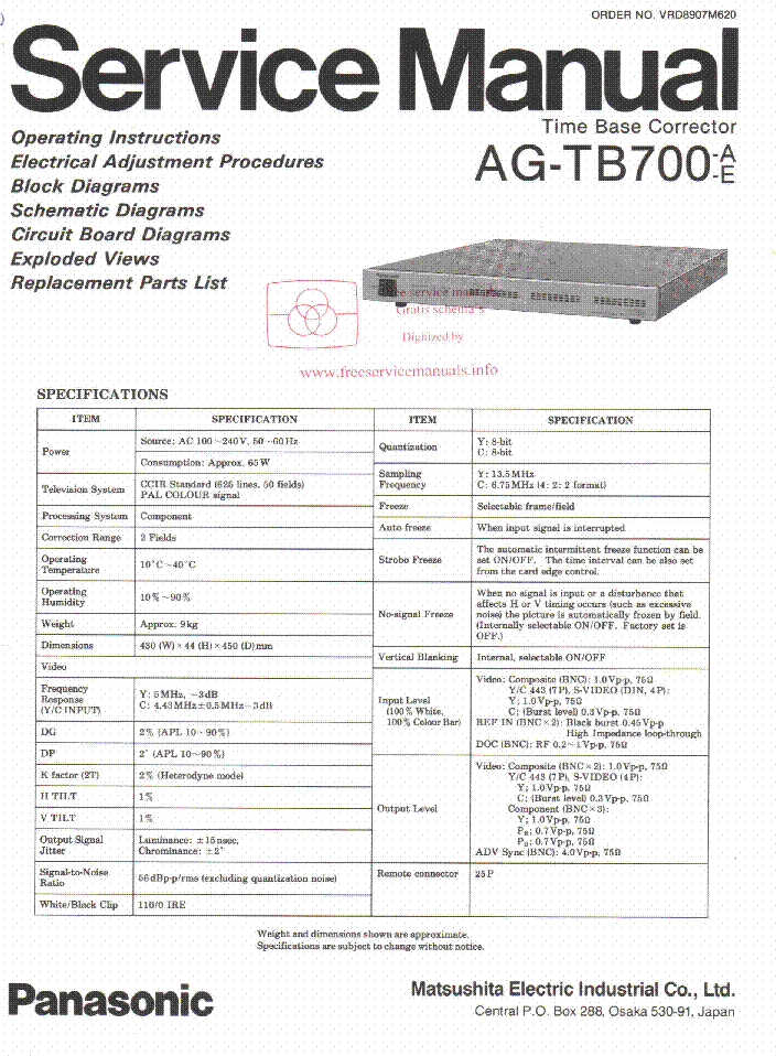 PANASONIC AG-TB700 A E SM Service Manual download, schematics