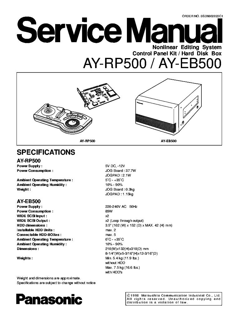 PANASONIC AY-RP500 AY-EB500 NONLINEAR EDITING SYSTEM Service Manual