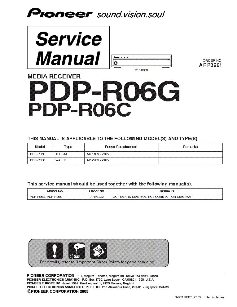 pioneer pdp r06g r06c media receiver sm service manual download rh elektrotanya com Yamaha Service Manuals PDF Repair Manuals Yale Forklift
